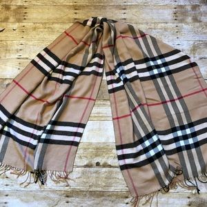 "Burberry Wool Nova Check Shawl Wrap 70""x 26"""